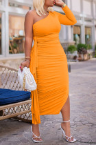 Tangerine Red Sexy Solid Split Joint Flounce Fold Oblique Collar Pencil Skirt Dresses