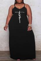 Black Sexy Print Split Joint Spaghetti Strap Sling Dress Dresses
