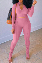 Pink Casual Solid Split Joint Fold Zipper Zipper Collar Long Sleeve Two Pieces