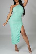 Light Blue Sexy Solid Slit One Shoulder Irregular Dress Dresses