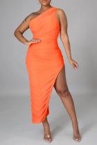 Tangerine Red Sexy Solid Slit One Shoulder Irregular Dress Dresses