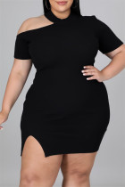Black Sexy Casual Plus Size Solid Hollowed Out Slit O Neck Short Sleeve Dress