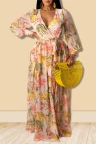 Yellow Sweet Print Split Joint V Neck Straight Dresses
