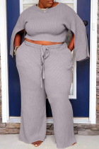 Grey Casual Solid Slit O Neck Plus Size Two Pieces