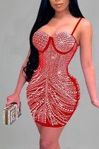 Red Sexy Solid Split Joint Hot Drill Spaghetti Strap Sling Dress Dresses