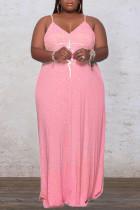 Pink Sexy Print Split Joint Spaghetti Strap Sling Dress Dresses