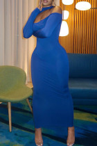 Blue Sexy Casual Solid Hollowed Out Split Joint Half A Turtleneck Long Sleeve Dresses