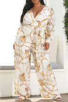 White Casual Print Bandage Split Joint With Belt V Neck Straight Jumpsuits