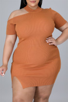 Brown Sexy Casual Plus Size Solid Hollowed Out Slit O Neck Short Sleeve Dress
