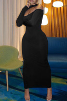 Black Sexy Casual Solid Hollowed Out Split Joint Half A Turtleneck Long Sleeve Dresses