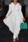 White Casual Solid Split Joint V Neck Loose Jumpsuits