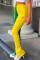 Green Yellow Fashion Casual Print Split Joint Regular High Waist Conventional Patchwork Bottoms