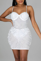 White Sexy Solid Split Joint Hot Drill Spaghetti Strap Sling Dress Dresses