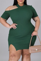Green Sexy Casual Plus Size Solid Hollowed Out Slit O Neck Short Sleeve Dress