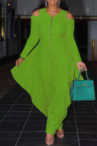 Green Casual Solid Split Joint V Neck Loose Jumpsuits
