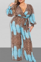 Blue Casual Print Bandage Split Joint With Belt V Neck Straight Jumpsuits
