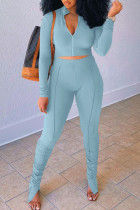 Baby Blue Casual Solid Split Joint Fold Zipper Zipper Collar Long Sleeve Two Pieces