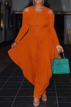 Orange Casual Solid Split Joint V Neck Loose Jumpsuits