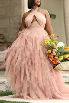 Pink Sexy Plus Size Patchwork See-through Backless Halter Long Dress