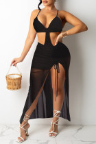 Black Sexy Solid See-through Backless Spaghetti Strap Sleeveless Two Pieces