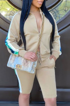 Light yellow Fashion Casual adult Ma'am Patchwork Solid Two Piece Suits Straight Long Sleeve Two Pieces