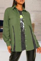 Army Green Casual Solid Slit Turndown Collar Long Sleeve Regular Denim Jacket