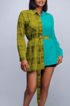 Yellow Casual Plaid Print Split Joint Buckle With Belt Turndown Collar Tops