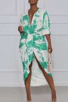 Green Elegant Print Tie Dye Split Joint Fold Asymmetrical V Neck Straight Dresses