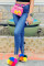 Medium Blue Fashion Casual Solid Split Joint Zipper High Waist Skinny Jeans