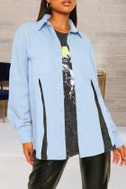 Light Blue Casual Solid Slit Turndown Collar Long Sleeve Regular Denim Jacket
