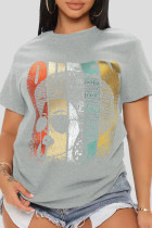 Grey Casual Print Split Joint O Neck T-Shirts