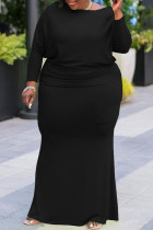 Black Sexy Solid Split Joint O Neck One Step Skirt Plus Size Dresses