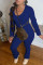 Blue Fashion Casual Solid Fold O Neck Long Sleeve Two Pieces