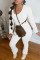 White Fashion Casual Solid Fold O Neck Long Sleeve Two Pieces