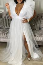 White Fashion Sexy Plus Size Solid Split Joint Slit V Neck Evening Dress
