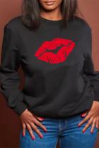 Black Fashion Casual Lips Printed Basic O Neck Tops