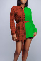 Green Casual Plaid Print Split Joint Buckle With Belt Turndown Collar Tops