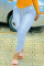 Light Blue Sexy Solid Split Joint Mid Waist Skinny Denim Jeans