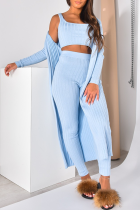 Blue Casual Solid Split Joint U Neck Long Sleeve Three Pieces