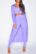Purple Casual Solid Split Joint U Neck Long Sleeve Three Pieces
