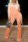 Orange Casual Solid Split Joint Turndown Collar Boot Cut Jumpsuits