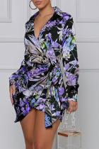 Purple Sexy Print Turndown Collar Shirt Dress Dresses