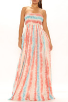 Red Stripe Fashion Sexy Print Backless Strapless Regular Jumpsuits
