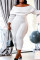 White Fashion Casual Solid Split Joint Backless Off the Shoulder Plus Size Jumpsuits