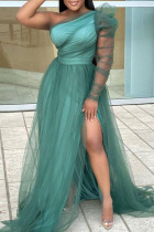 Green Fashion Sexy Solid Backless Slit Oblique Collar Long Sleeve Plus Size Dresses