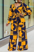 Yellow Casual Print Split Joint V Neck Straight Long Sleeve Jumpsuits (Contain The Belt)