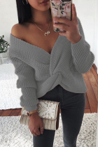 Grey Casual Solid Split Joint Fold V Neck Tops