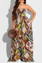 Multicolor Fashion Sexy Print Backless Strapless Regular Jumpsuits