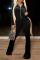 Black Casual Solid Split Joint Turndown Collar Boot Cut Jumpsuits