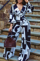 White Casual Print Split Joint V Neck Straight Long Sleeve Jumpsuits (Contain The Belt)